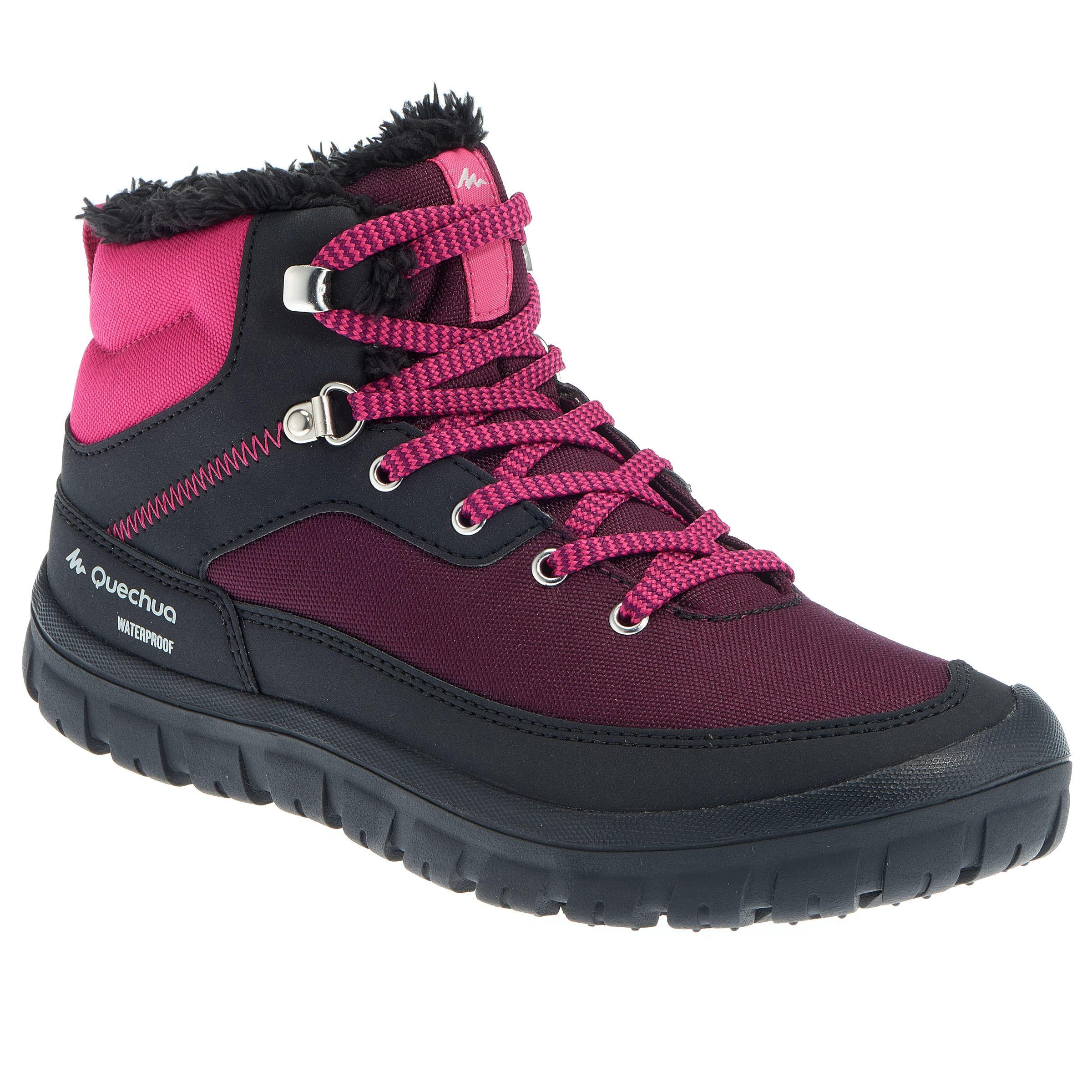 Botas de senderismo nieve para niños SH100 cordones, cálidas e impermeables rosa
