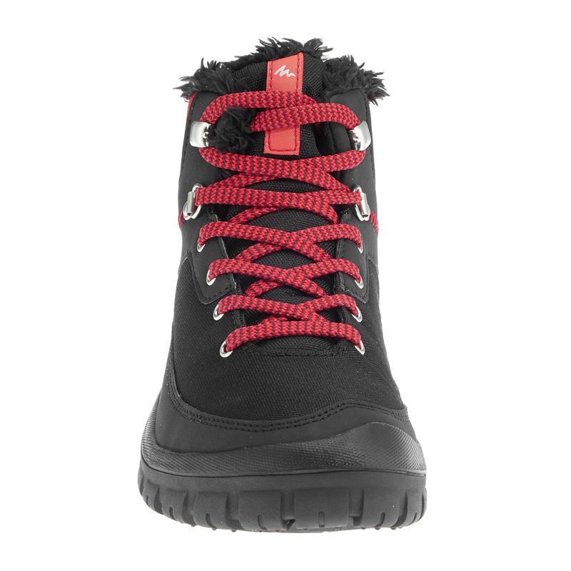 Bototos senderismo para nieve niños SH100 cordones cálidos e impermeables rojo
