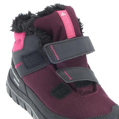 Botas impermeables excursionismo niños Arpenaz 100 mid Warm velcro morado rosado