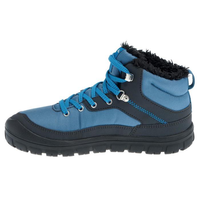 兒童款中筒保暖鞋帶式雪地健行靴SH100-藍色