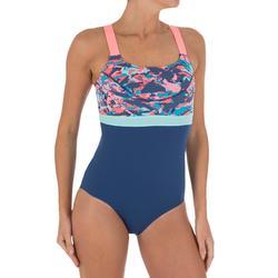 Anna Women's Chlorine-Resistant One-Piece Aquabiking Swimsuit - Crac Grey Orange