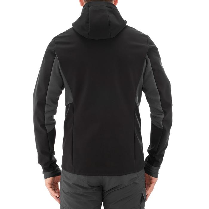 Warme winddichte softshell jas voor bergtrekking heren Trek 500 Windwarm zwart