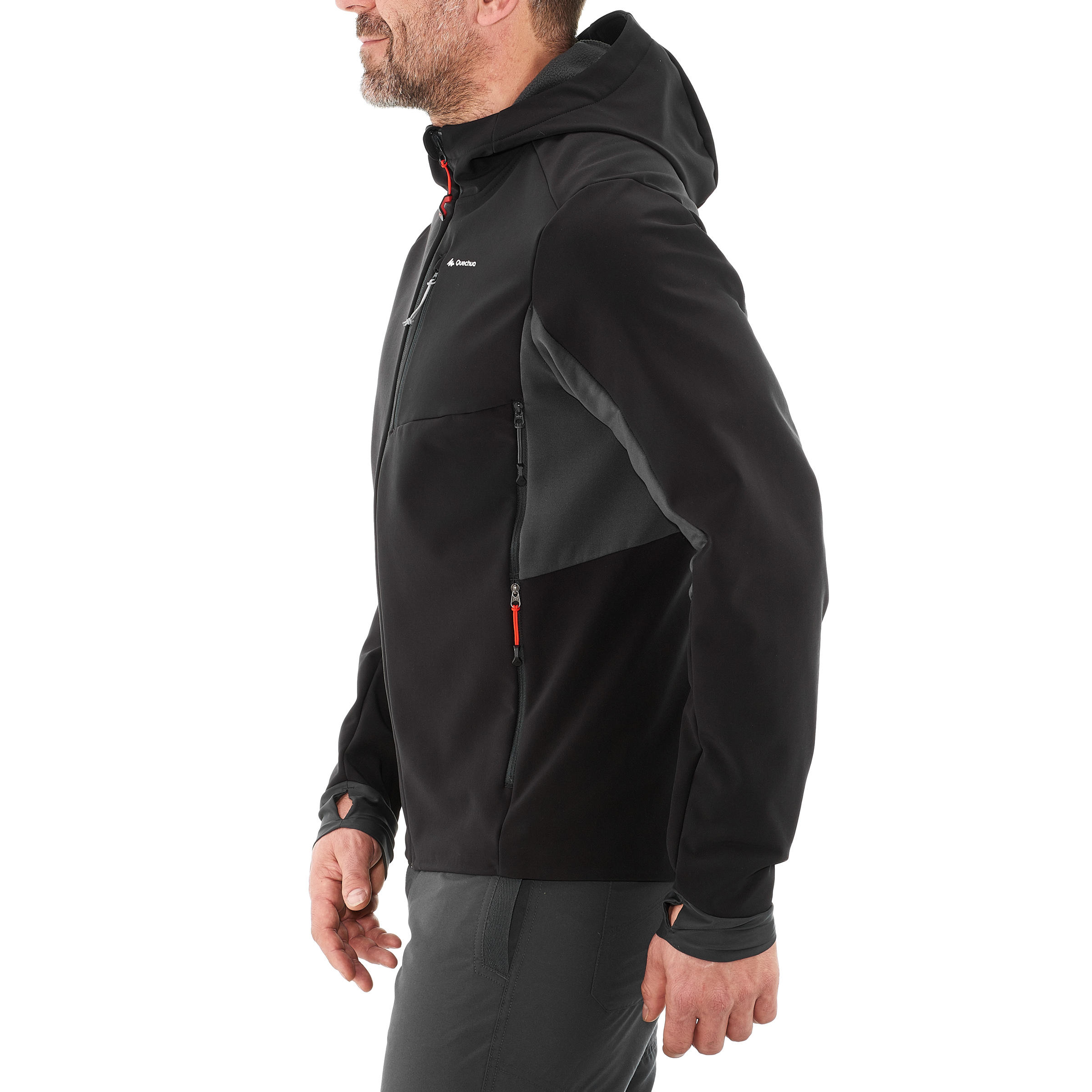 Men's TREK 900 softshell black trekking jacket