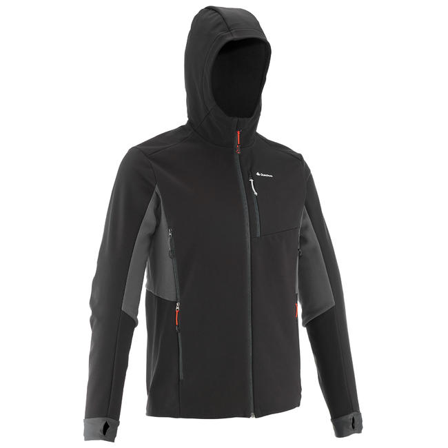 Men's Mountain Trekking Softshell Wind Warm Jacket - TREK 500 WINDWARM - Black