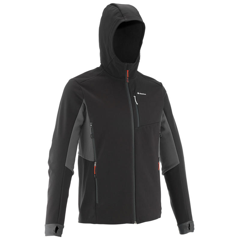 Men's Mountain Trekking Warm Softshell Wind Jacket Trek 500 Windwarm - black