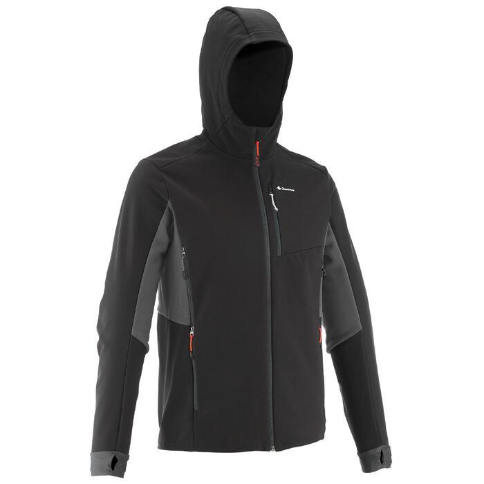 Softshell chaude coupe vent de trek montagne - TREK 500 WINDWARM noir homme