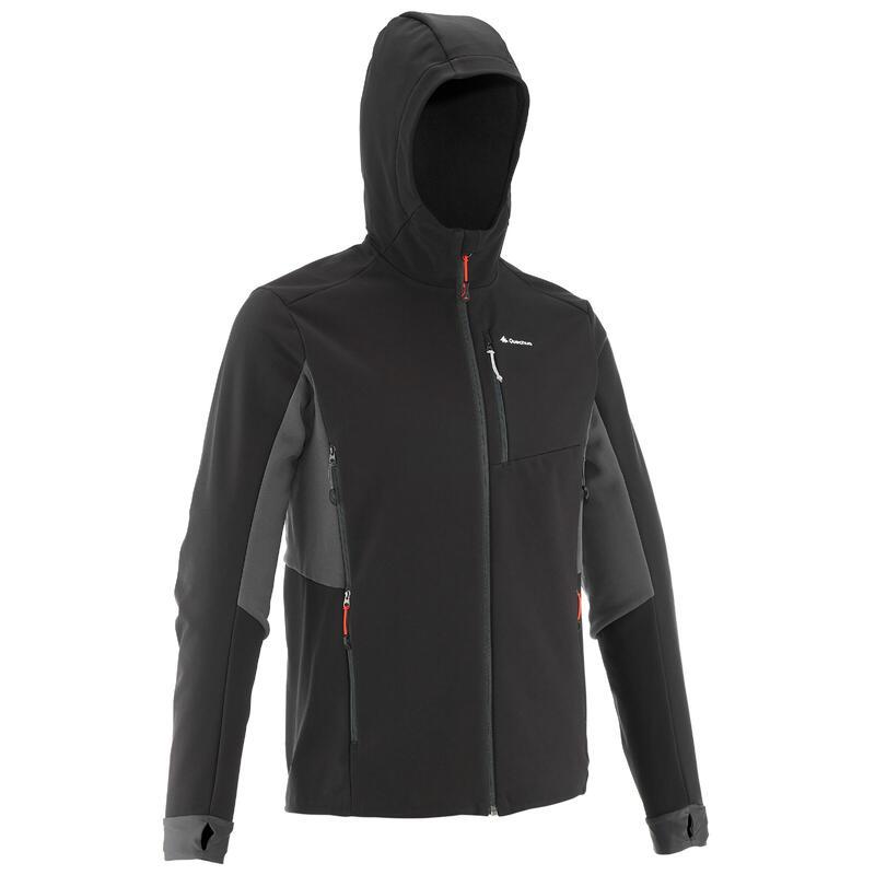Jachetă Softshell trekking la munte TREK 500 WINDWARM Negru Bărbați