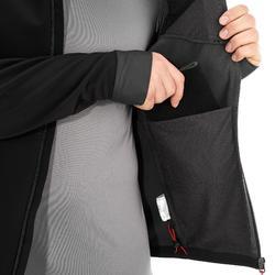 Warme winddichte softshelljas voor bergtrekking heren Trek 500 Windwarm zwart