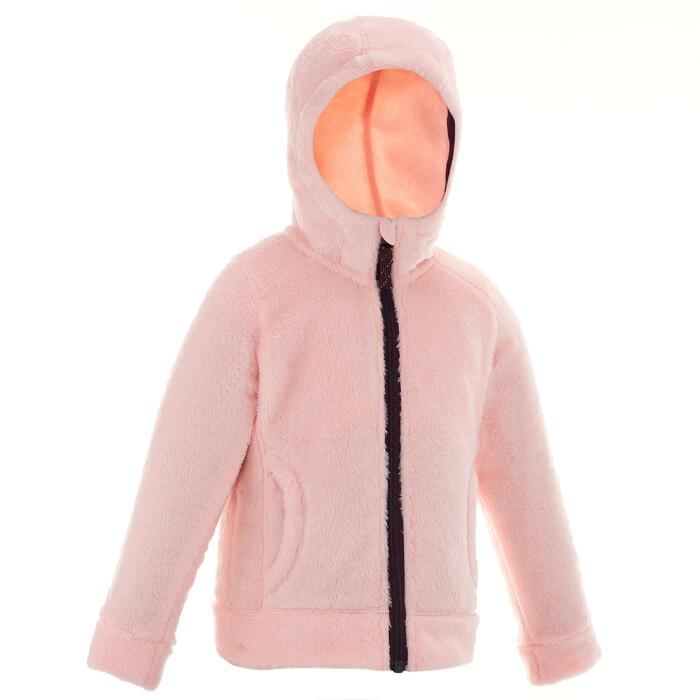 Veste polaire de randonnée Fille Hoodie Warm corail - 1015738
