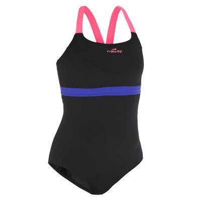 Vestido de baño enterizo resistente al cloro aquabike para mujer Anna negro rosa