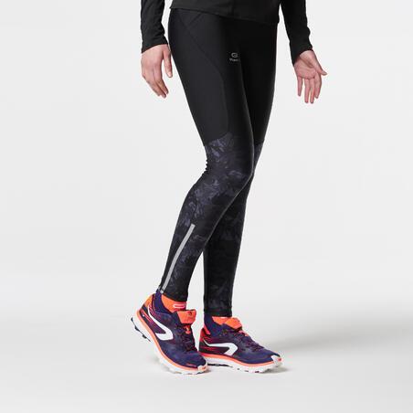 Mallas largas trail running mujer negro gris