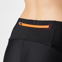 女款野跑緊身褲-黑底橘邊