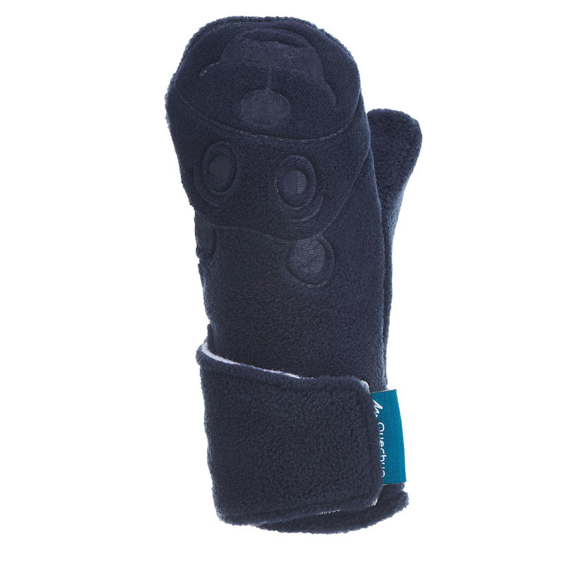 Children's fleece hiking mittens MH100 - Blue