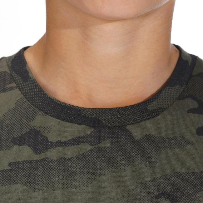Junior Half-Sleeve T-Shirt 100 Camo Half-Tone Green