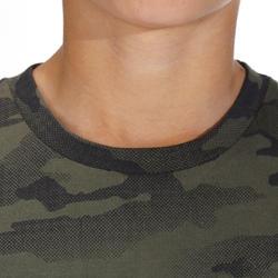T-shirt chasse manches courtes 100 junior camouflage demi ton vert