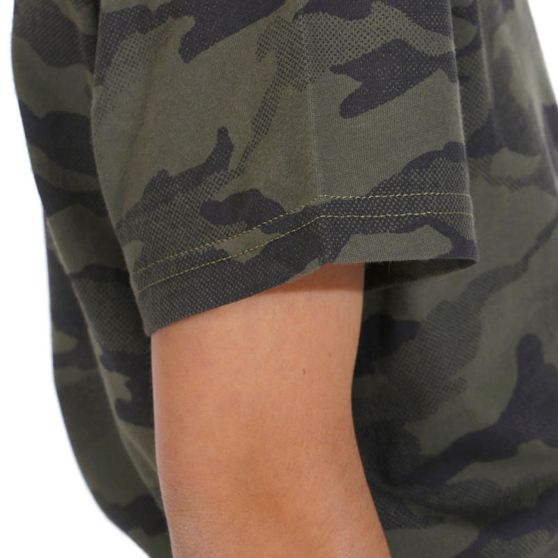 Junior Half-Sleeve T-Shirt 100 Camo Half-Tone Green