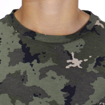 T-shirt manches courtes chasse 100 Junior camouflage island