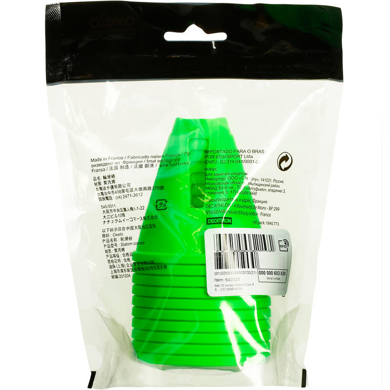 Inline Skating Slalom Cones 10-Pack - Green