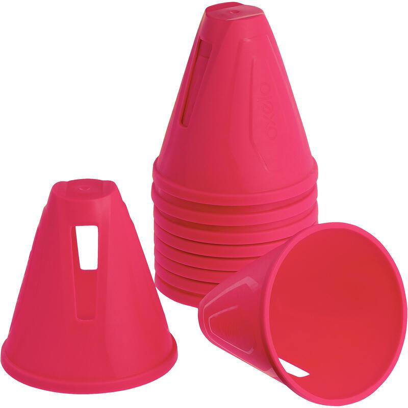 Inline Skating Slalom Cones 10-Pack - Pink