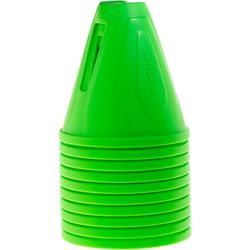 Set van 10 slalomkegels voor skeeleren groen