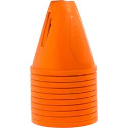 Set van 10 slalomkegels voor skeeleren oranje