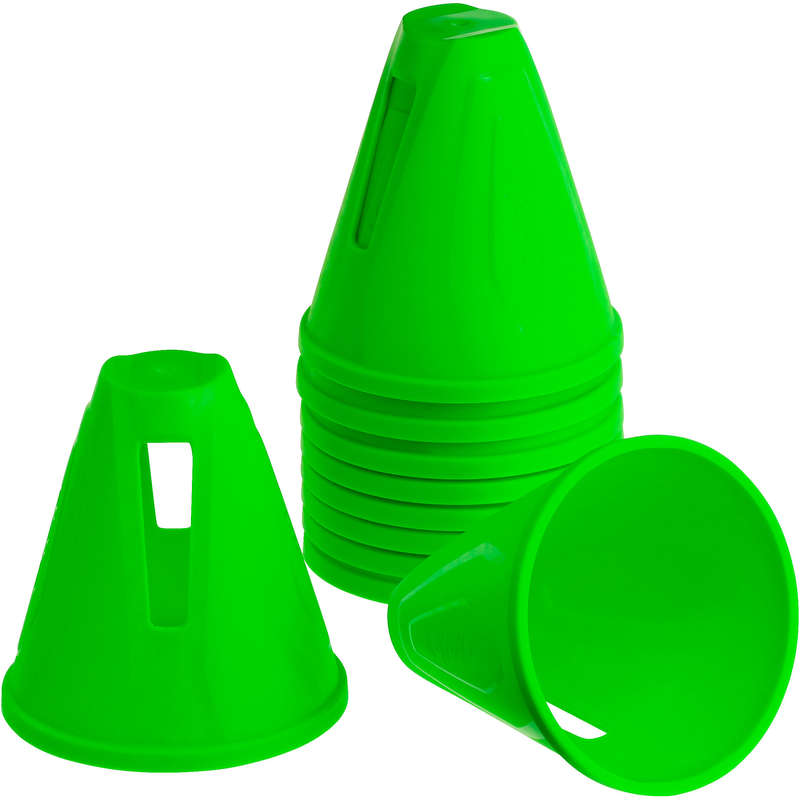 BAGS AND ACCESORIES Inline Skating and Roller Blading - Slalom Cones 10-Pack - Green OXELO - Inline Skating and Roller Blading