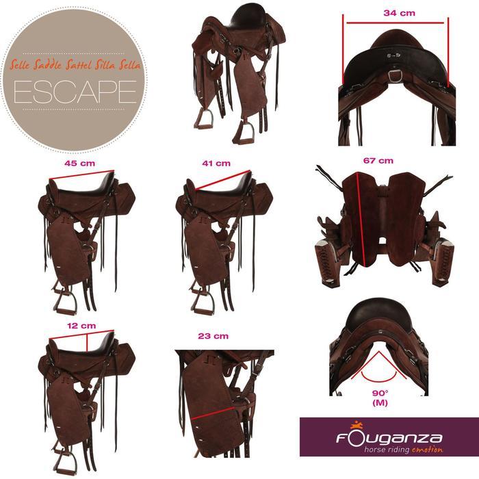Selle équitation randonnée cheval ESCAPE marron - 101948