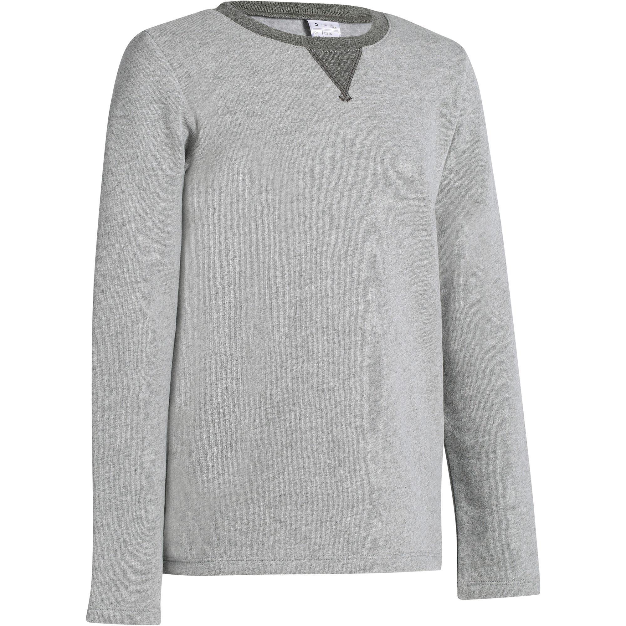 Sweatshirt 100 Gym Kinder hellgrau