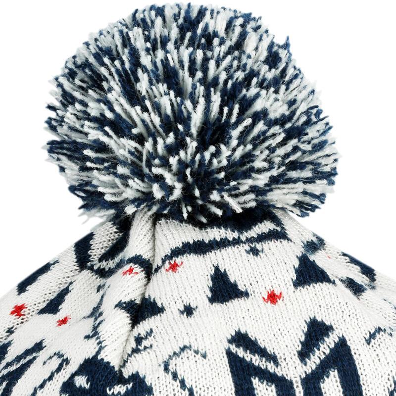 Adult Jacquard Ski Hat - White Navy