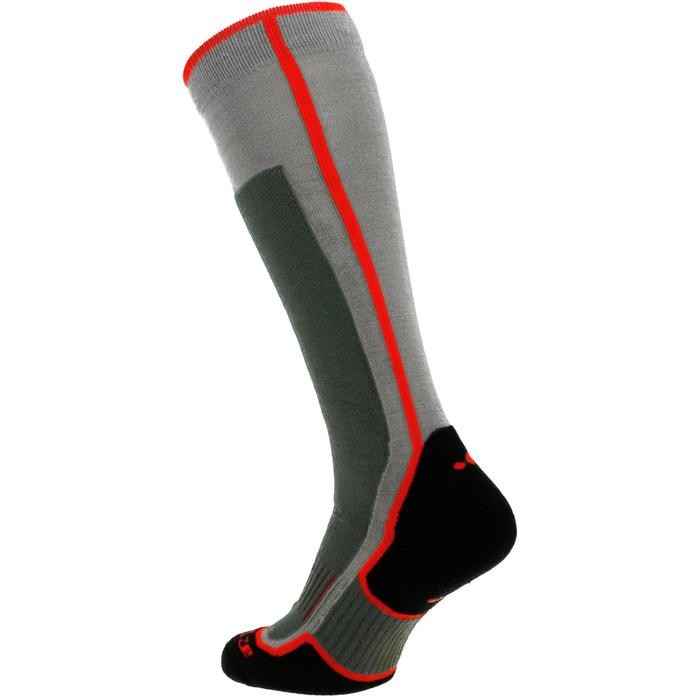 Skisokken voor heren en dames 300 grijs/rood