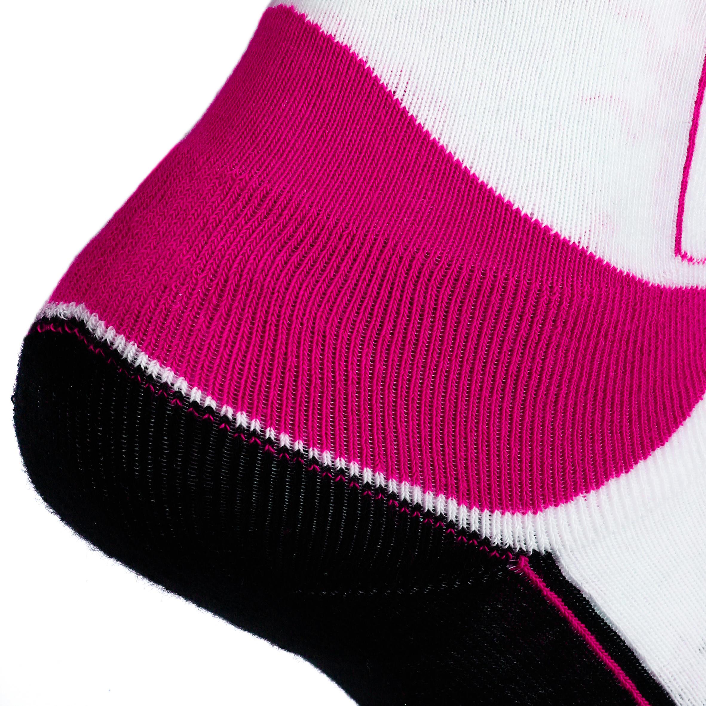 Chaussettes patins à roues alignées enfant PLAY rose blanches