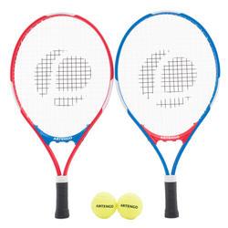 Set tennisrackets voor kinderen blauw/rood