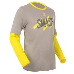 Essential 500 Junior Badminton and Tennis T-Shirt - Navy/Yellow