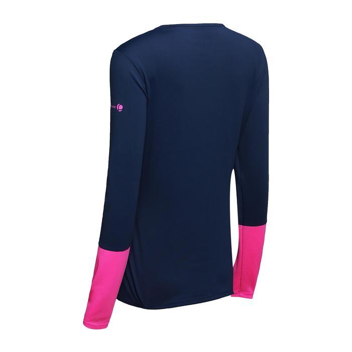 女款網球T恤Essential -藍色/粉紅色