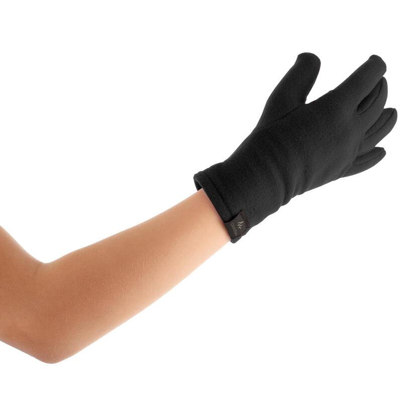 Children's fleece hiking gloves MH100 - Black