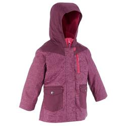 Hike 500 3-in-1 Girl's Warm Waterproof Hiking Jacket - Plum