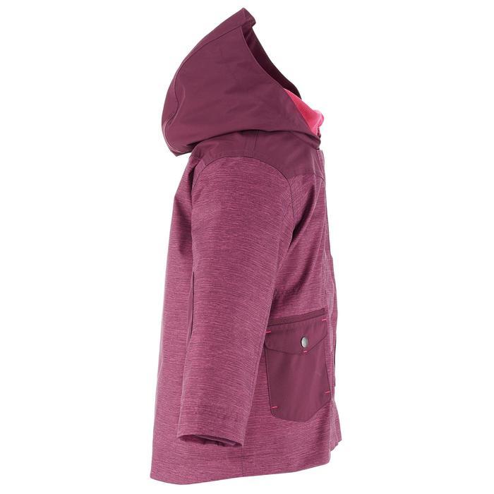 Veste chaude imperméable randonnée fille Hike 500 3en1 prune