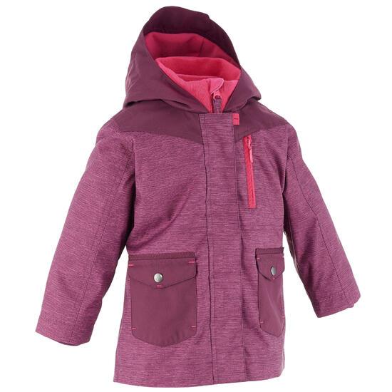 Waterdichte warme jas voor trekking meisjes Hike 500 3-in-1 paars - 1023940