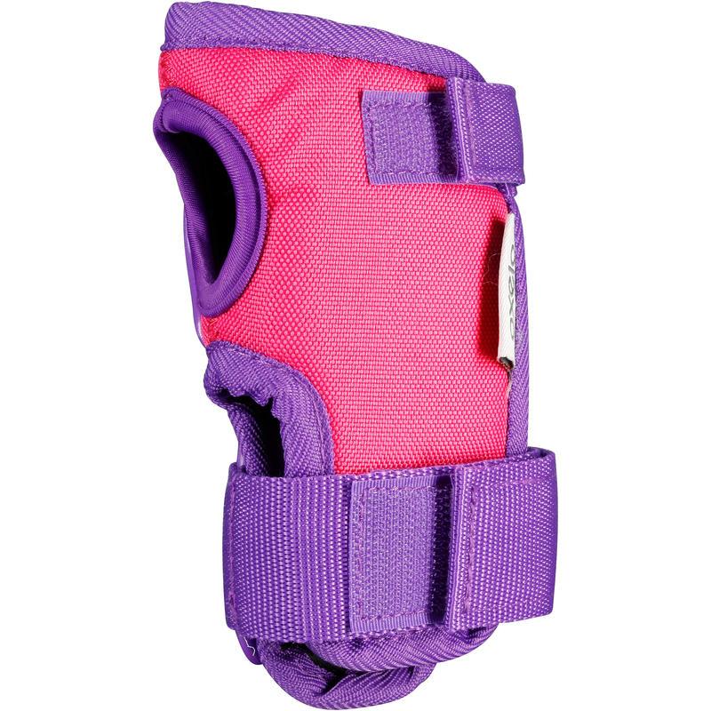 Ens. 3 protections pour patin, planche à roulettes, trottinette PLAY rose violet