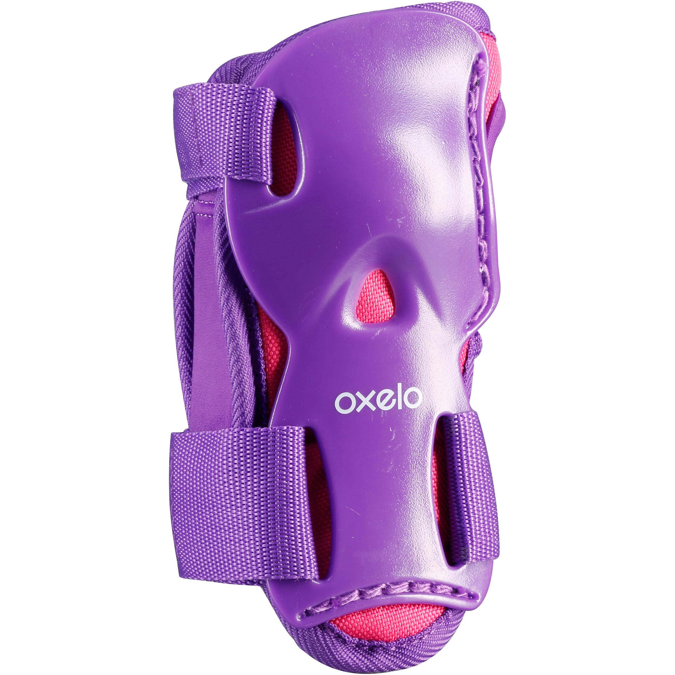 Ensemble de 3 protections pour patin, skateboard, trottinette PLAY rose violet