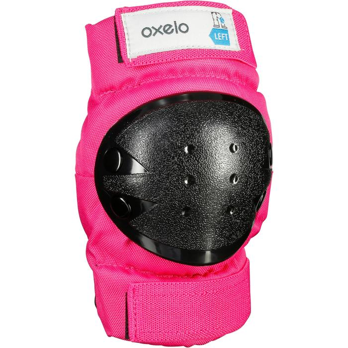 Set 3 protections roller skate trottinette enfant BASIC rose