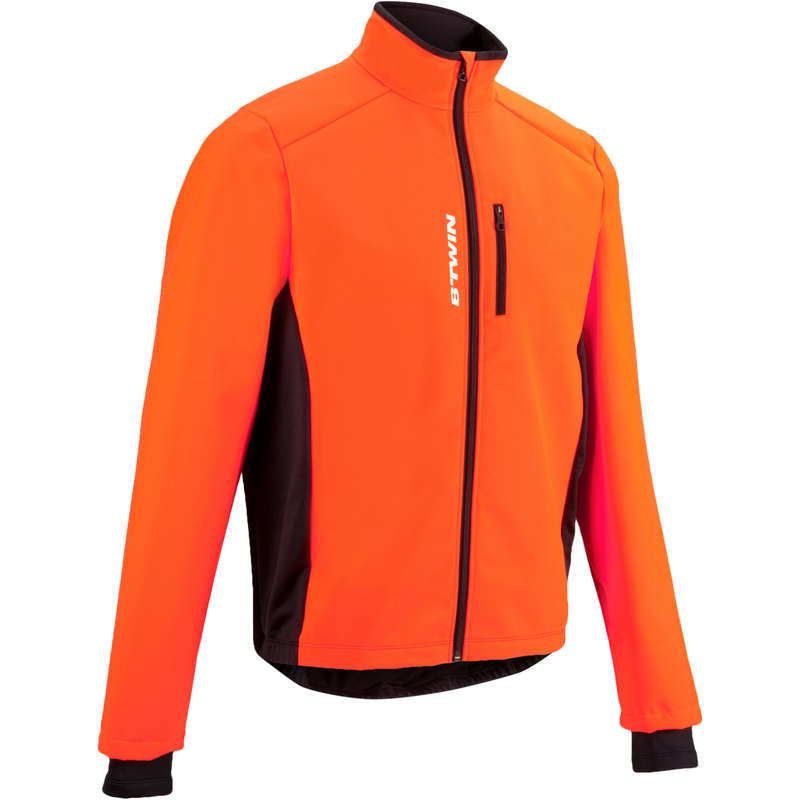 MEN COLD WEATHER ROAD CYCLING APPAREL - RC100 Warm Cycling Jacket - Orange TRIBAN