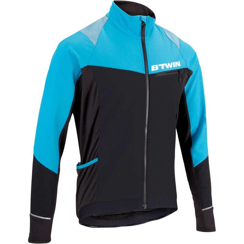MEN COLD WEATHER ST MTB APPAREL - 500 Warm Cycling Jacket - Black/Blue ROCKRIDER