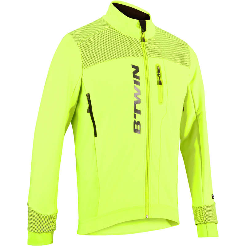 MEN COLD WEATHER ROAD CYCLING APPAREL - RC 900 Winter Road Cycling Jacket - Hi Vis Yellow B'TWIN