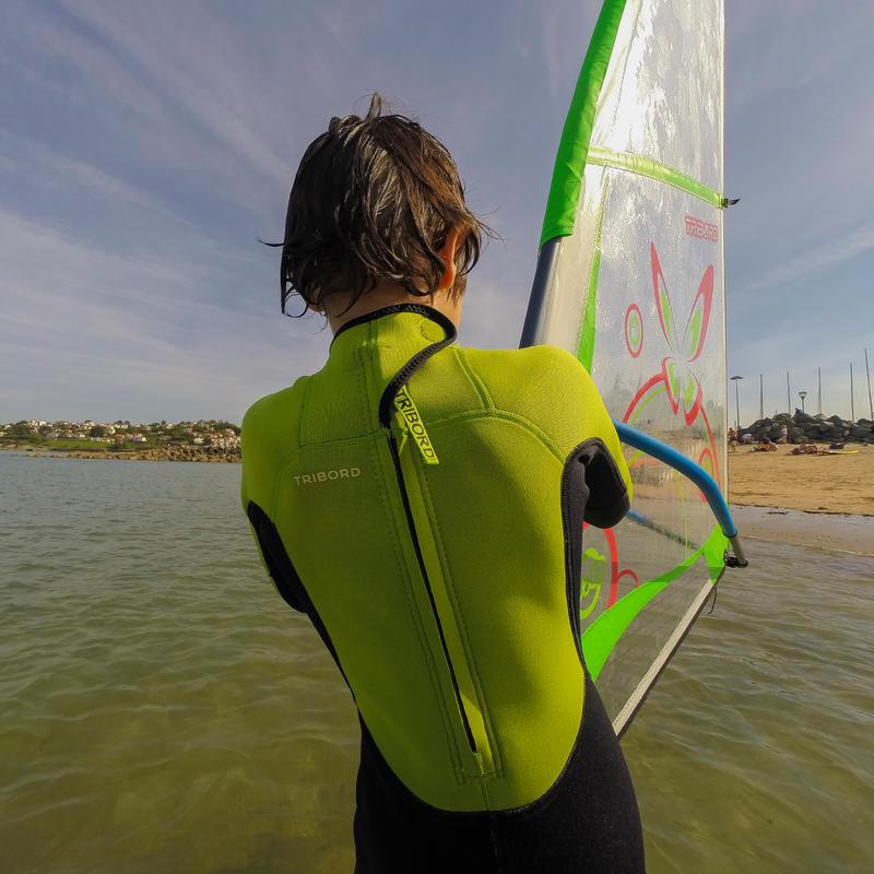 Traje SURF 100 Neoprén 2/2 mm Niños Verde