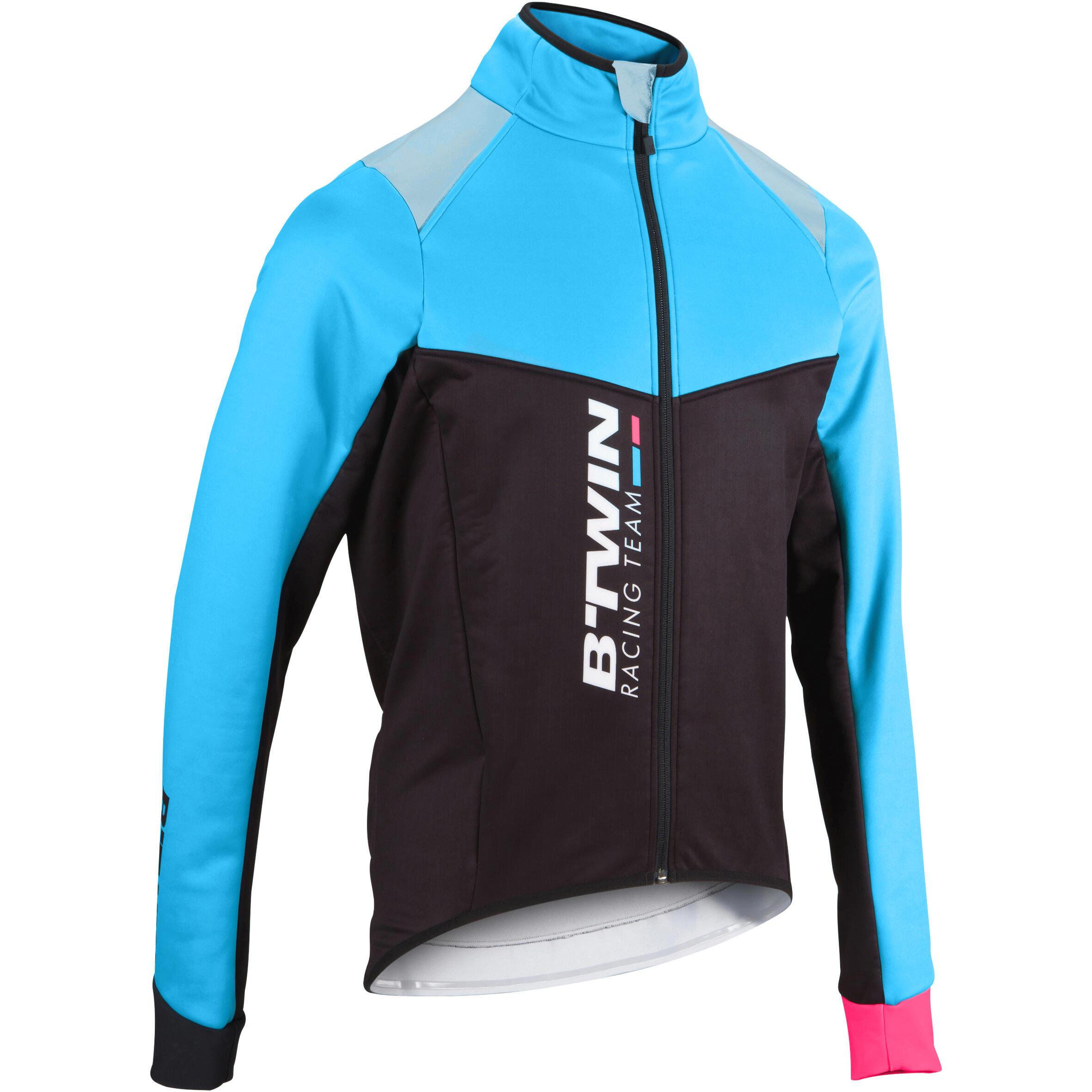 Fahrradjacke Aerofit Team Herren schwarz/blau/rosa | Sportbekleidung > Sportjacken > Fahrradjacken | Schwarz - Blau - Türkis - Rot - Rosa | La - Co | B´twin