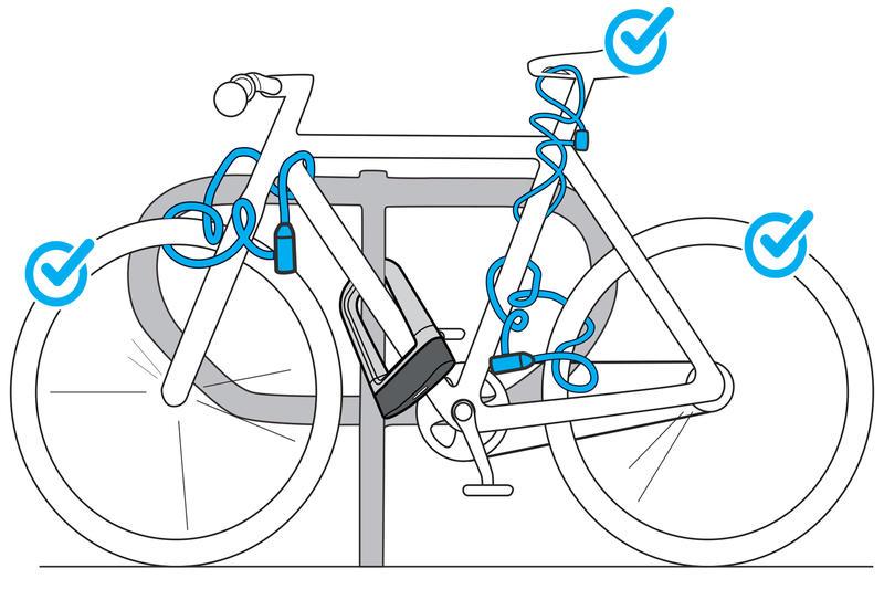 สายล็อคจักรยานพร้อมลูกกุญแจรุ่น 100 (สีเทา)