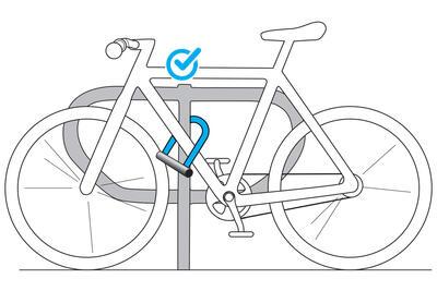 قفل دراجة بمفتاح على شكل حرف D - لون رمادي - B'TWIN 500