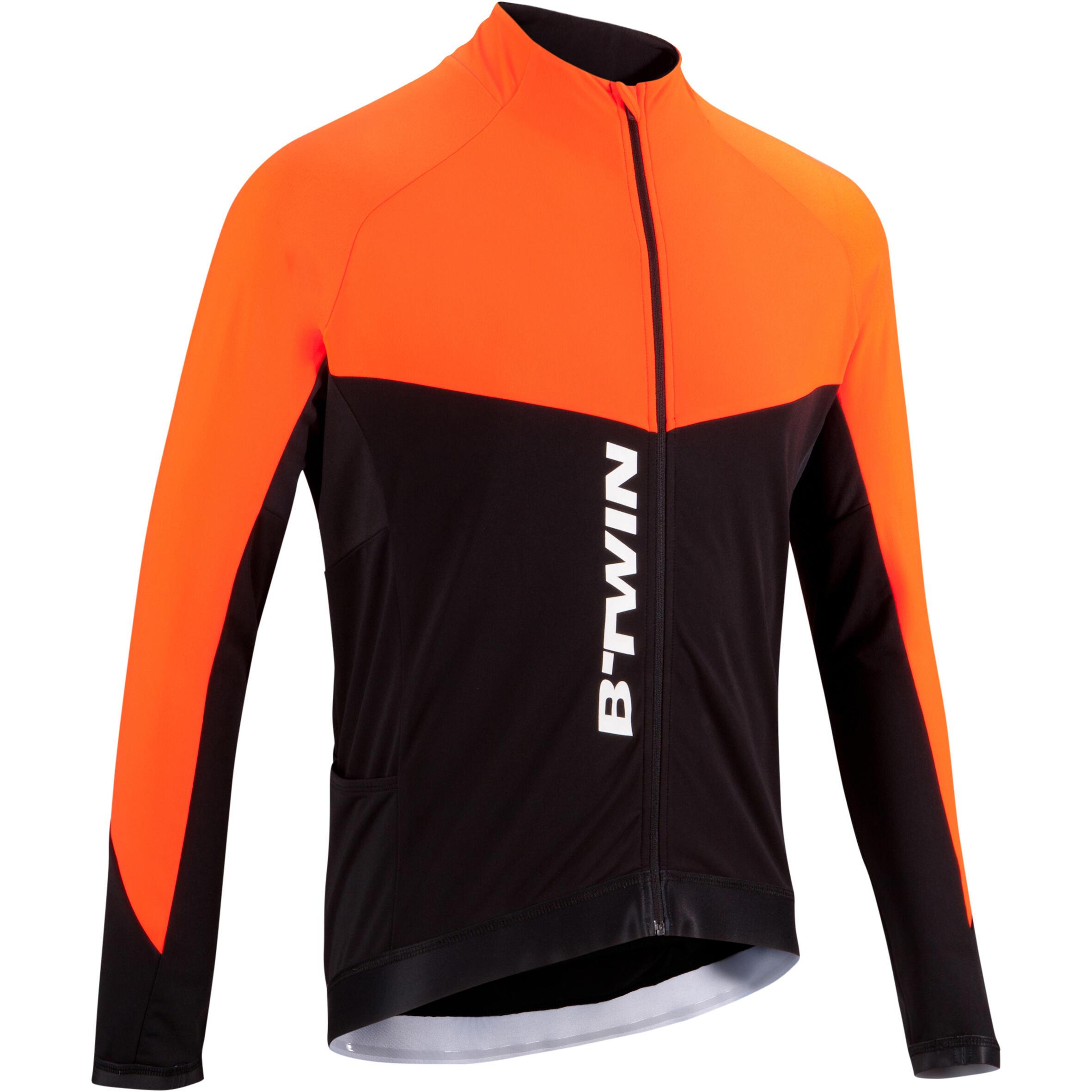 Fahrradtrikot Langarm 900 Herren orange | Sportbekleidung > Trikots > Fahrradtrikots | Rot - Orange | Triban