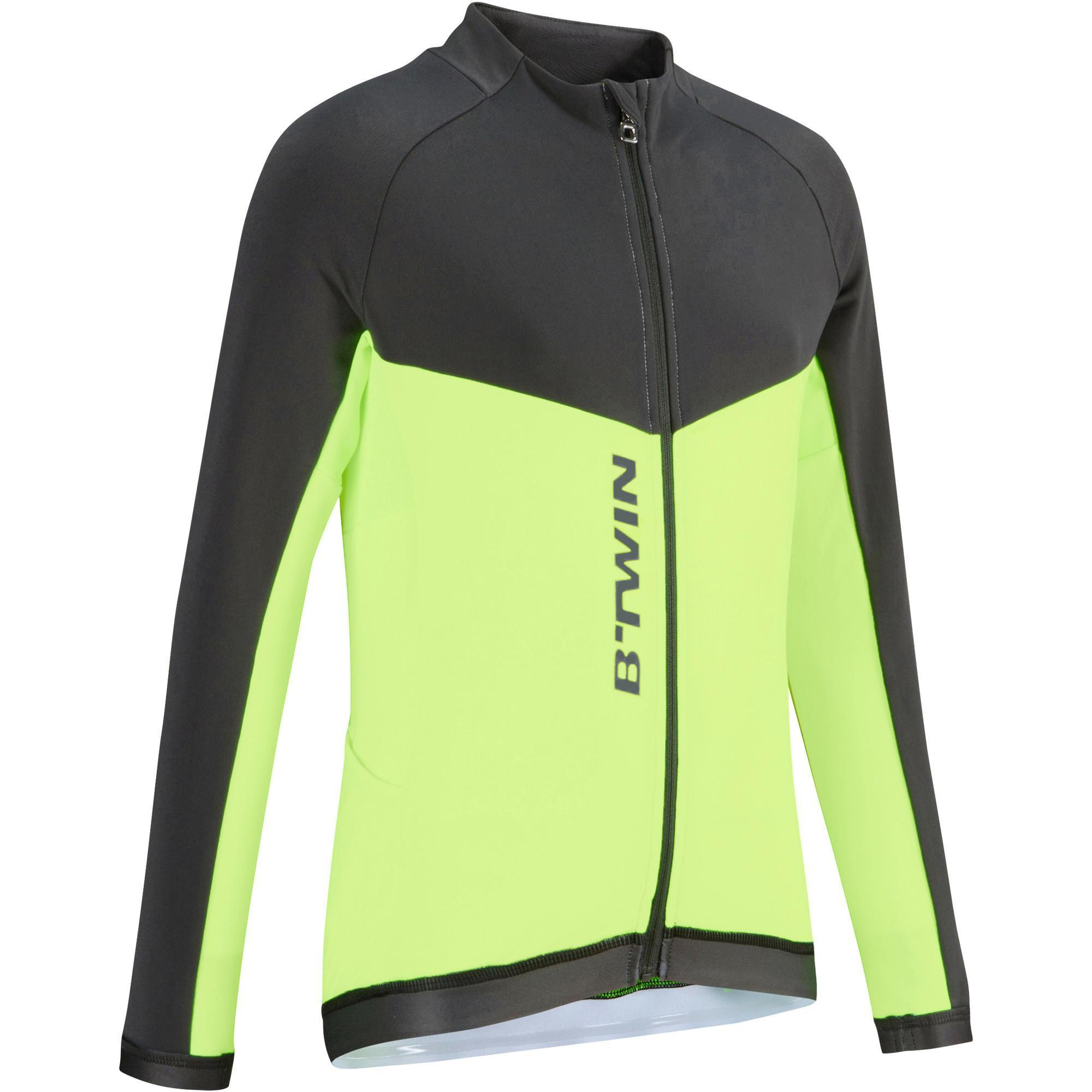 Langarm-Fahrradtrikot 900 Kinder gelb | Sportbekleidung > Trikots | B´twin